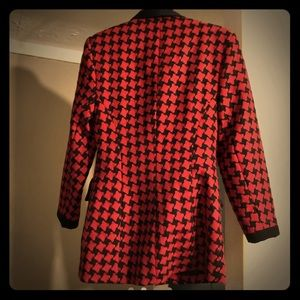 Red and black houndstooth wool blazer